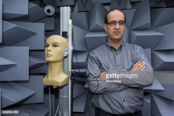 Tomer Shani cofounder and chief executive officer of Noveto Systems Ltd poses for a photograph in a sound laboratory at the Noveto Systems Ltd office...