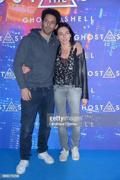 Tomer Sisley and Sandra Zeitoun de Matteis attends the Paris Premiere of the Paramount Pictures release 'Ghost In The Shell' at Le Grand Rex on March...