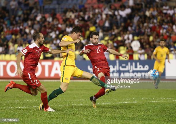 Tomi Juric of Australia attempts a shot on goal during the 2018 FIFA World Cup Asian Playoff match between Syria and the Australia Socceroos at Hang...
