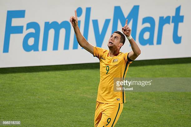Tomi Juric of Australia celebrates after scoring a goal during the 2018 FIFA World Cup Qualifier match between the Australian Socceroos and Iraq at...