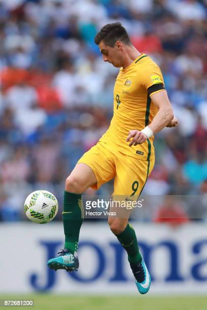Tomi Juric of Australia controls the ball during a first leg match between Honduras and Australia as part of FIFA World Cup Qualifiers Play Off at...