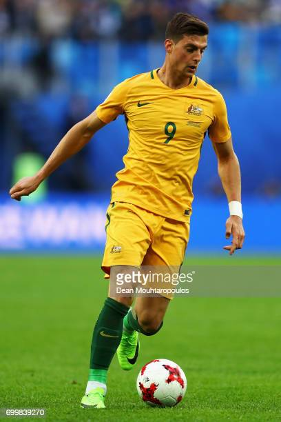 Tomi Juric of Australia in action during the FIFA Confederations Cup Russia 2017 Group B match between Cameroon and Australia at Saint Petersburg...