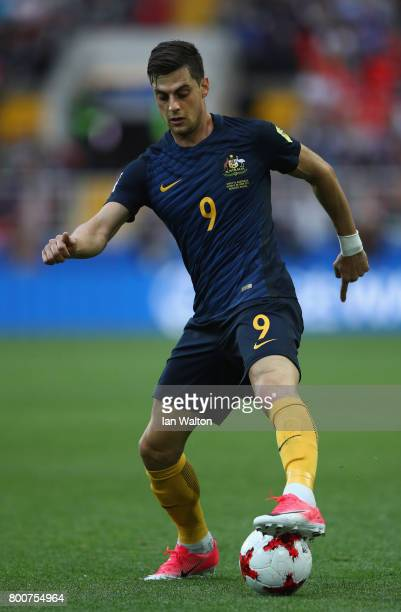 Tomi Juric of Australia in action during the FIFA Confederations Cup Russia 2017 Group B match between Chile and Australia at Spartak Stadium on June...