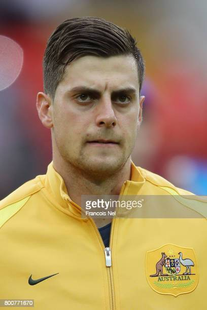 Tomi Juric of Australia lines up prior to the FIFA Confederations Cup Russia 2017 Group B match between Chile and Australia at Spartak Stadium on...