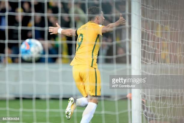 Tomi Juric of Australia reacts after scoring a goal during the World Cup 2018 qualifying football match between Australia and Thailand in Melbourne...