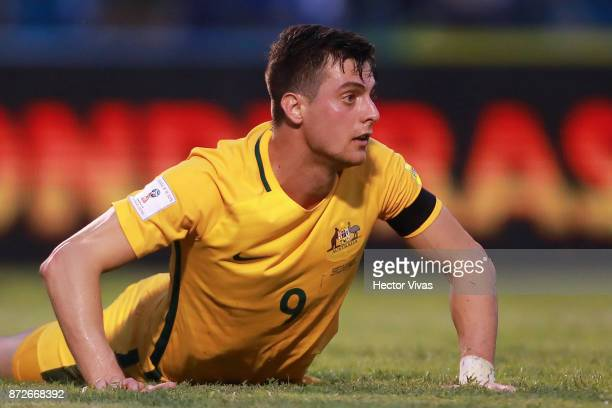 Tomi Juric of Australia reacts during a first leg match between Honduras and Australia as part of FIFA World Cup Qualifiers Play Off at Estadio...