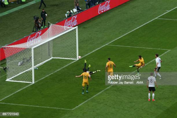 Tomi Juric of Australia scores a goal to make it 23 during the FIFA Confederations Cup Russia 2017 Group B match between Australia and Germany at...