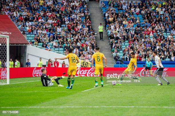 Tomi Juric of Australia scores during the FIFA Confederations Cup Russia 2017 group B football match between Australia and Germany at Fisht Olympic...