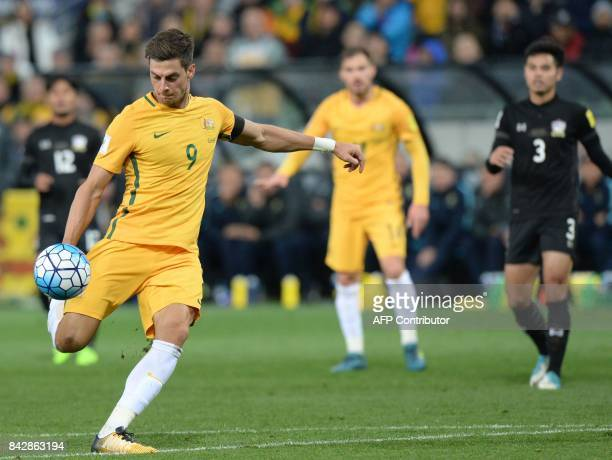 Tomi Juric of Australia shoots on goal during the World Cup 2018 qualifying football match between Australia and Thailand in Melbourne on September 5...