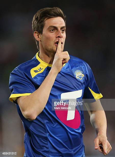 Tomi Juric of the All Stars celebrates scoring a goal during the match between the ALeague All Stars and Juventus at ANZ Stadium on August 10 2014 in...