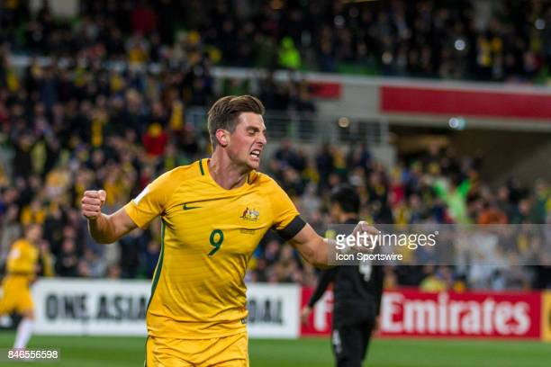 Tomi Juric of the Australian National Football Team celebrates his successful attempt at goal during the FIFA World Cup Qualifier Match Between the...