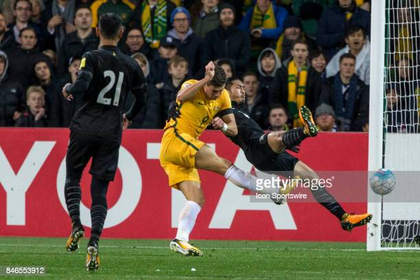 Tomi Juric of the Australian National Football Team has a shot at goal during the FIFA World Cup Qualifier Match Between the Australian National...