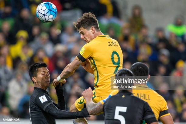 Tomi Juric of the Australian National Football Team heads the ball during the FIFA World Cup Qualifier Match Between the Australian National Football...