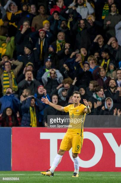 Tomi Juric of the Australian National Football Team shows his disappointment after a failed attempt at goal during the FIFA World Cup Qualifier Match...