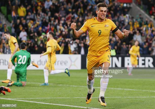 Tomi Juric of the Socceroos celebrates a goal during the 2018 FIFA World Cup Qualifier match between the Australian Socceroos and Thailand at AAMI...