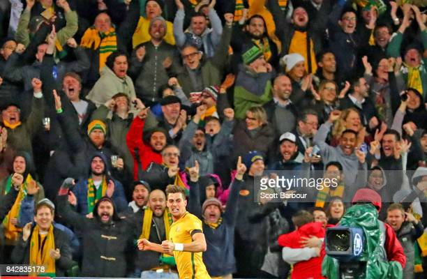 Tomi Juric of the Socceroos celebrates after scoring the first goal during the 2018 FIFA World Cup Qualifier match between the Australian Socceroos...