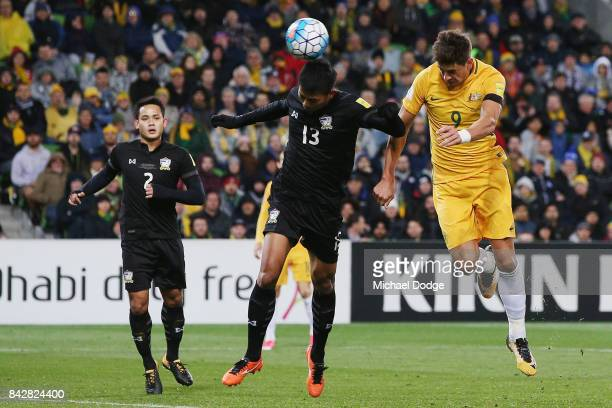Tomi Juric of the Socceroos heads the ball for a goal during the 2018 FIFA World Cup Qualifier match between the Australian Socceroos and Thailand at...