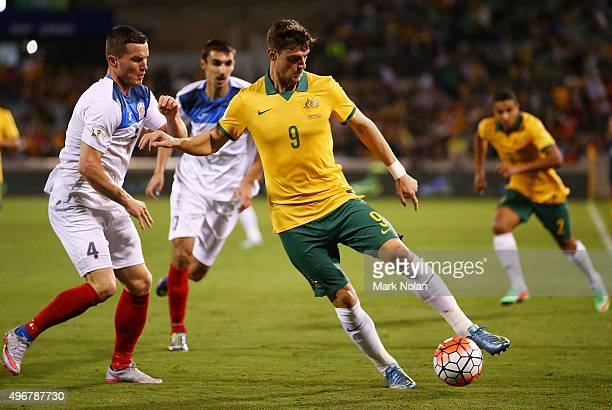 Tomi Juric of the Socceroos in action during the 2018 FIFA World Cup Qualification match between the Australian Socceroos and Kyrgyzstan at GIO...