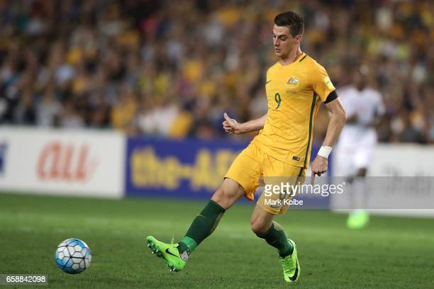 Tomi Juric of the Socceroos passes during the 2018 FIFA World Cup Qualifier match between the Australian Socceroos and United Arab Emirates at...