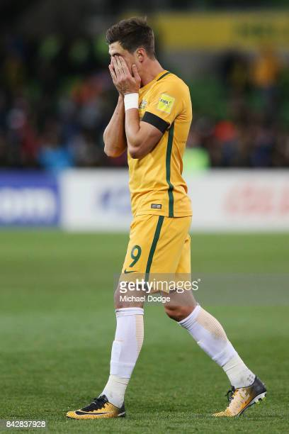 Tomi Juric of the Socceroos reacts after the whistle during the 2018 FIFA World Cup Qualifier match between the Australian Socceroos and Thailand at...