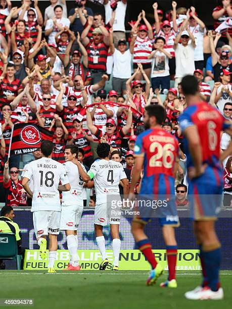 Tomi Juric of the Wanderers celebrates after scoring his teams first goal during the round seven ALeague match between the Western Sydney Wanderers...