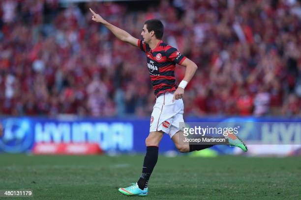 Tomi Juric of the Wanderers celebrates his goal during the round 24 ALeague match between the Western Sydney Wanderers and Perth Glory at Parramatta...