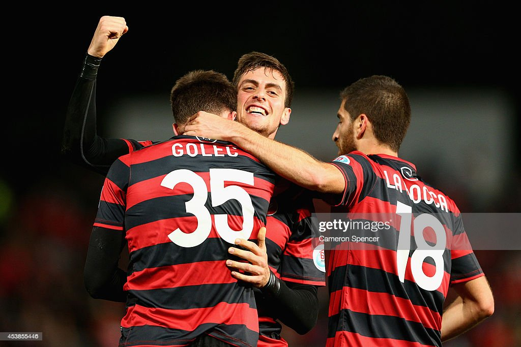 Tomi Juric of the Wanderers celebrates scoring a goal during the Asian Champions League Final match between the Western Sydney Wanderers and...