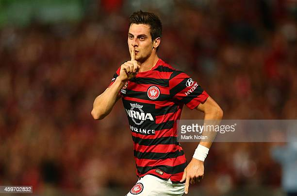 Tomi Juric of the Wanderers celebrates scoring a goal during the round eight ALeague match between Western Sydney Wanderers and Sydney FC at Pirtek...