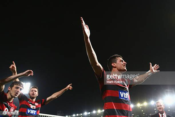 Tomi Juric of the Wanderers celebrates with his team in front of the crowd after victory during the Asian Champions League final match between the...