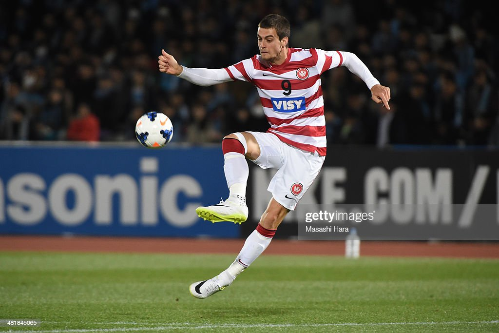 Tomi Juric #9 of Western Sydney Wanderers in action during the AFC Champions League Group H match between Kawasaki Frontale and Western Sydney Wanderers at Todoroki Stadium on April 1, 2014 in Kawasaki, Japan.