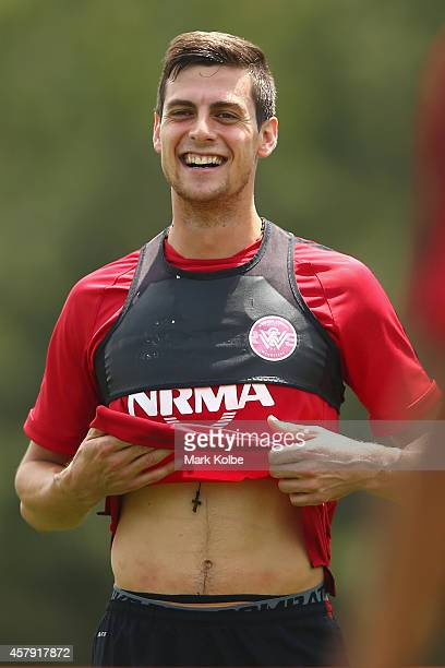 Tomi Juric shares a laugh with a team mate during a Western Sydney Wanderers ACL training session at Blacktown International Sportspark on October 27...
