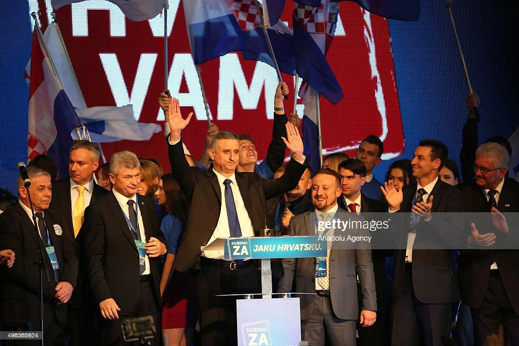 Tomislav Karamarko (C), leader of the Croatian Democratic Union party (HDZ) makes a speech after the party's parliamentary election victory at the headquarters of HDZ in Zagreb, Croatia, on November 09, 2015.