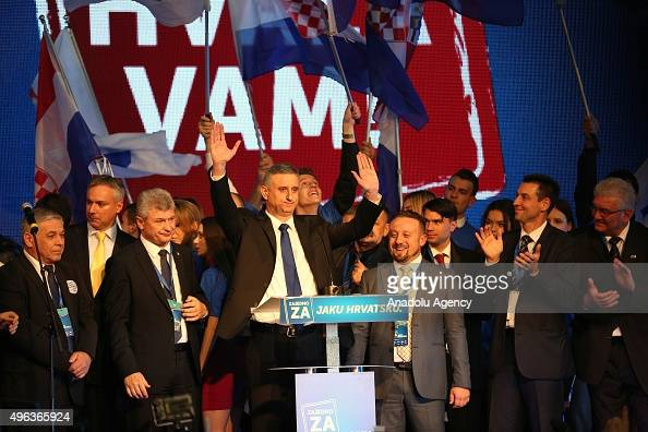 Tomislav Karamarko leader of the Croatian Democratic Union party makes a speech after the party's parliamentary election victory at the headquarters...