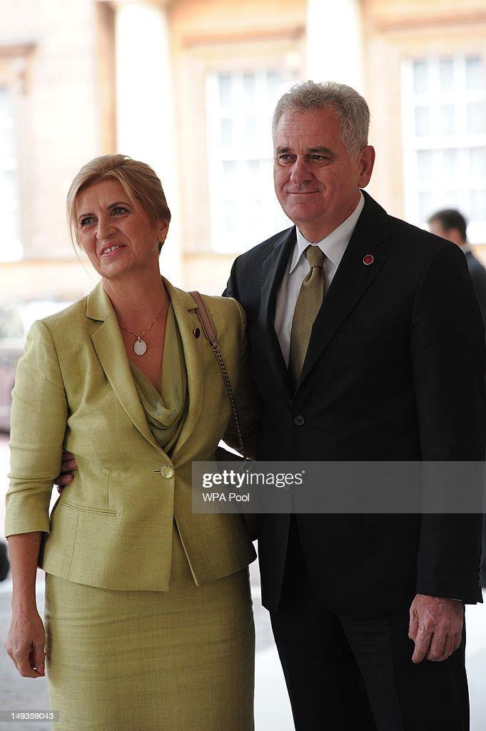 Tomislav Nikolic, President of Serbia, and his wife Dragica Nikolic arrive for a London 2012 Olympic Games reception, hosted by Britain's Queen Elizabeth II, at Buckingham Palace on July 27, 2012 in London, England.