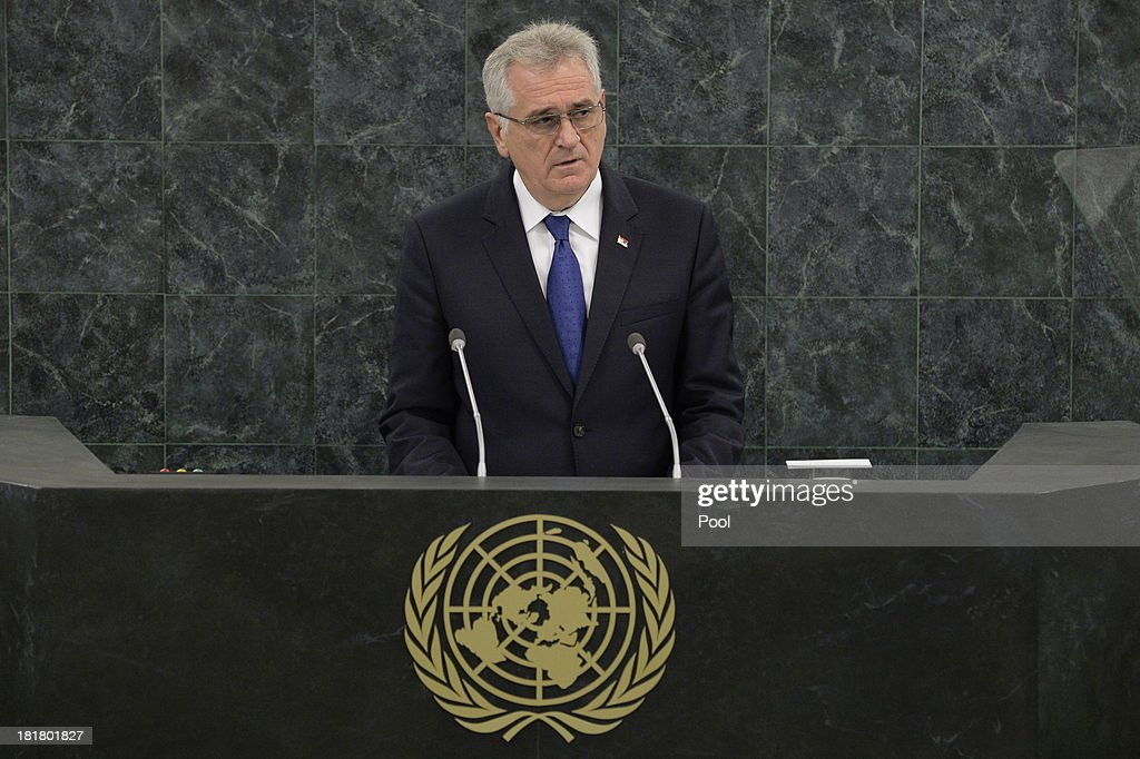 Tomislav Nikolic, President of the Republic of Serbia addresses the 68th session of the General Assembly at United Nations headquarters on September 25, 2013 in New York City. Over 120 prime ministers, presidents and monarchs are gathering this week for the annual meeting at the temporary General Assembly Hall at the U.N. headquarters while the General Assembly Building is closed for renovations.