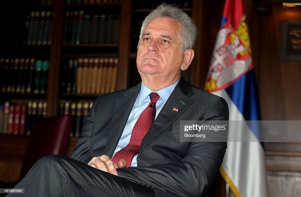<a gi-track='captionPersonalityLinkClicked' href=/galleries/search?phrase=Tomislav+Nikolic&family=editorial&specificpeople=801987 ng-click='$event.stopPropagation()'>Tomislav Nikolic</a>, Serbia's president, pauses during an interview at his office in Belgrade, Serbia, on Wednesday, July 9, 2014. Serbia and Russia should build South Stream stretch through Serbia regardless of Bulgaria's dispute with EU, Nikolic said. Photographer: Oliver Bunic/Bloomberg via Getty Images
