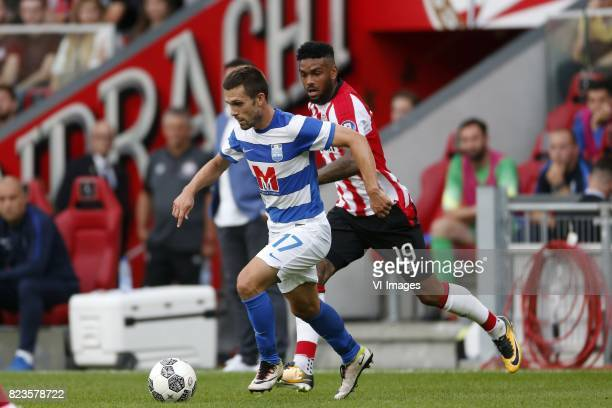 Tomislav Sorsa of NK Osijek Jurgen Locadia of PSV during the UEFA Europa League third qualifying round first leg match between PSV Eindhoven and...