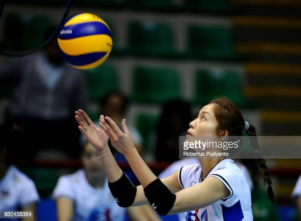 Tomkom Nootsara of Thailand serves during the 19th Asian Senior Women's Volleyball Championship 2017 Semifinal match between Thailand and Korea at...