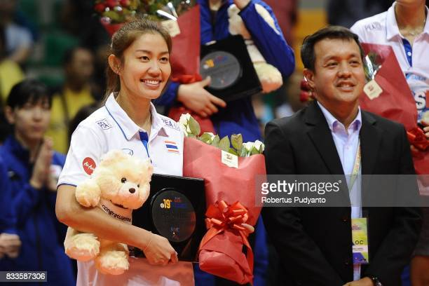 Tomkom Nootsara of Thailand takes the Best Setter during the 19th Asian Senior Women's Volleyball Championship 2017 at Alonte Sports Arena Binan...