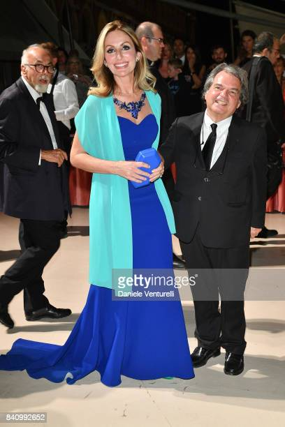 Tommasa Giovannoni and Renato Brunetta arrive at the dinner after the Opening Ceremony during the 74th Venice Film Festival at Excelsior Hotel on...