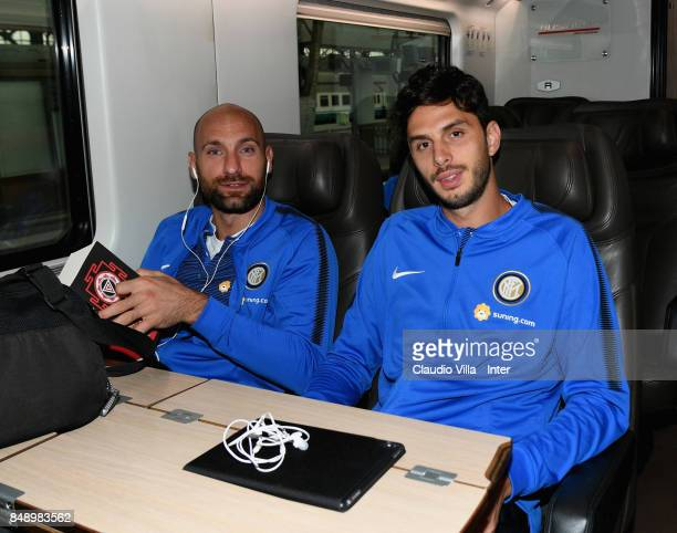 Tommaso Berni and Andrea Ranocchia of FC Internazionale travel to Bologna ahead of the Serie A match on September 18 2017 in Milan Italy
