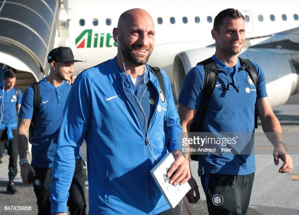 Tommaso Berni and Daniele Padelli of FC Internazionale Milano as FC Internazionale travel to Crotone ahead of the Serie A match on September 15 2017...