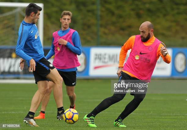 Tommaso Berni competes with Matteo Rover during the FC Internazionale training session at the club's training ground 'La Pinetina' on November 8 2017...