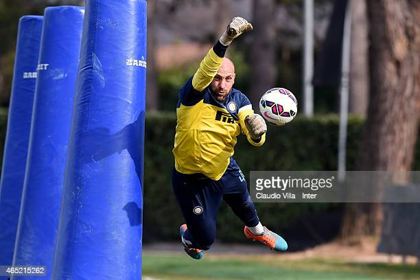 Tommaso Berni during FC Internazionale training session at the club's training ground at Appiano Gentile on March 04 2015 in Como Italy