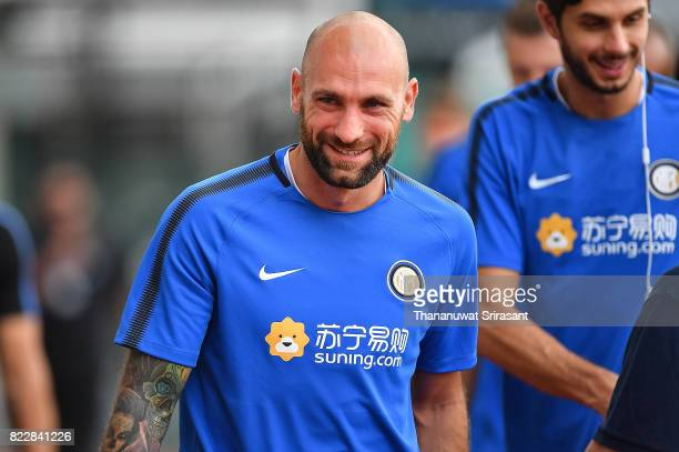 Tommaso Berni of FC Inter Milan smiles during a training session of International Champions Cup training session at Bishan Stadium on July 26 2017 in...