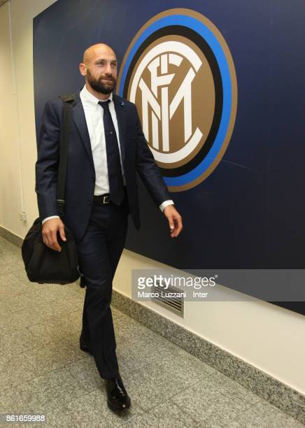 Tommaso Berni of FC Internazionale arrives prior to the Serie A match between FC Internazionale and AC Milan at Stadio Giuseppe Meazza on October 15...