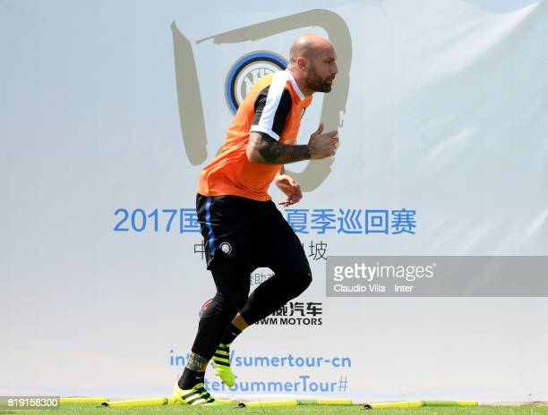 Tommaso Berni of FC Internazionale in action during a FC Interazionale training session at Suning training center on July 20 2017 in Nanjing China