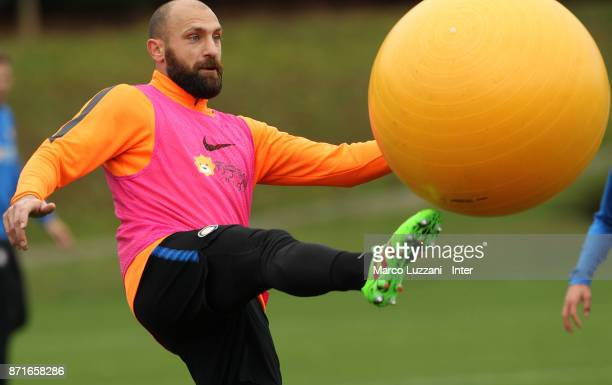 Tommaso Berni of FC Internazionale kicks a ball during the FC Internazionale training session at the club's training ground 'La Pinetina' on November...