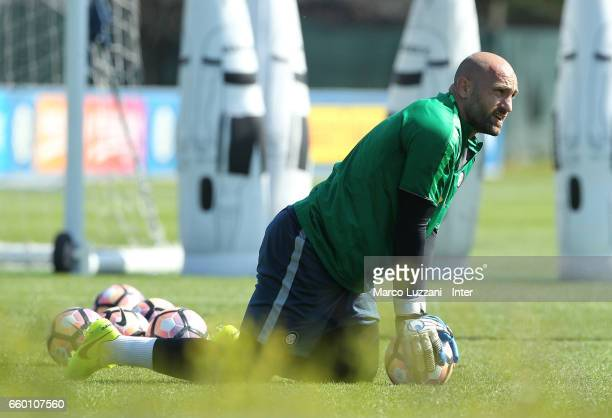 Tommaso Berni of FC Internazionale looks on during the FC Internazionale training session at the club's training ground Suning Training Center in...