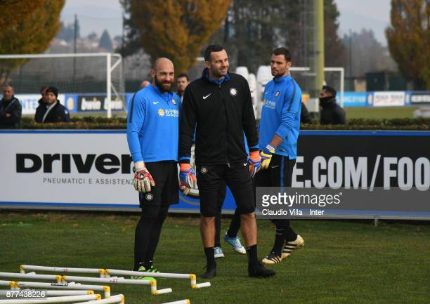 Tommaso Berni Samir Handanovic and Daniele Padelli of FC Internazionale of FC Internazionale look on during the FC Internazionale training session at...